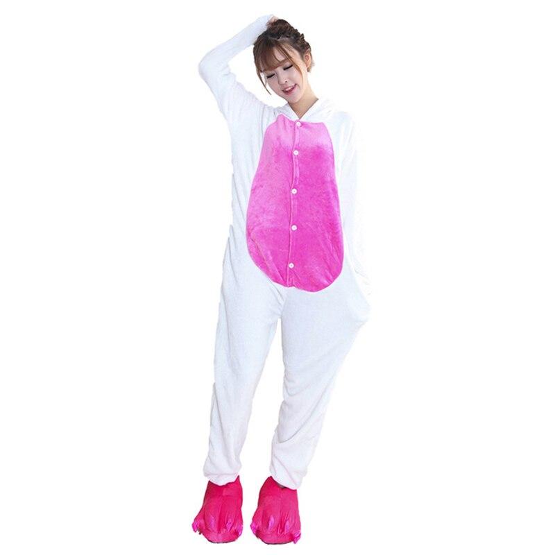 Kigurumis Women Pajamas Onesies Kawaii Rabbit Flannel Homewear One Piece carnival Sleepwear Clothing Pajama Party Costume 5