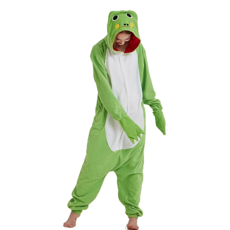Green Frog Animal Women Onesie Pajama Adult kigurumis Funny Homewear Polar Fleece Pajames Men Party Jumpsuit Unisex Sleepwear 1