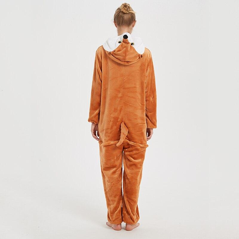 Animal Women Pajamas Suit Kigurumis Fox One Piece Adult Flannel Soft Sleepwear Homewear Festival Party Costume 2