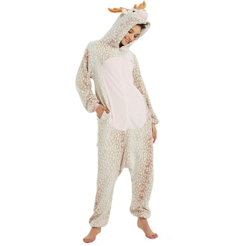 Milu Deer Animal Kigurumis Women Pajama Suit One Piece Adult Flannel Soft Pajamas Sleepwear Homewear Festival Party Costume 4