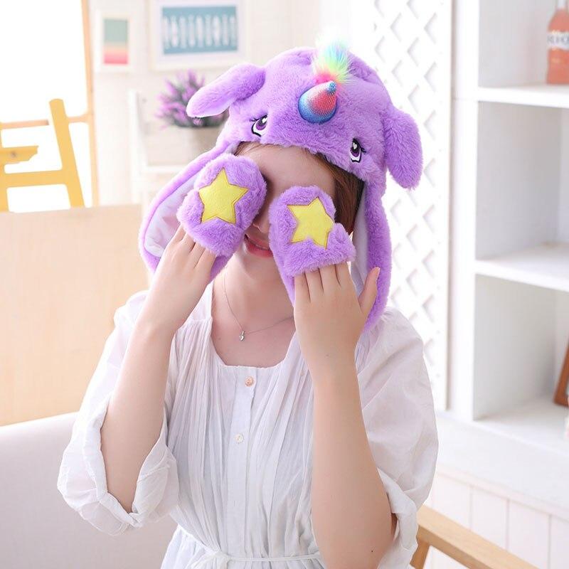 Unicorn Hat Ears Waggle Cute Funny Headgear Women Men Winter Warm Headwear Animal Cosplay Prop 5