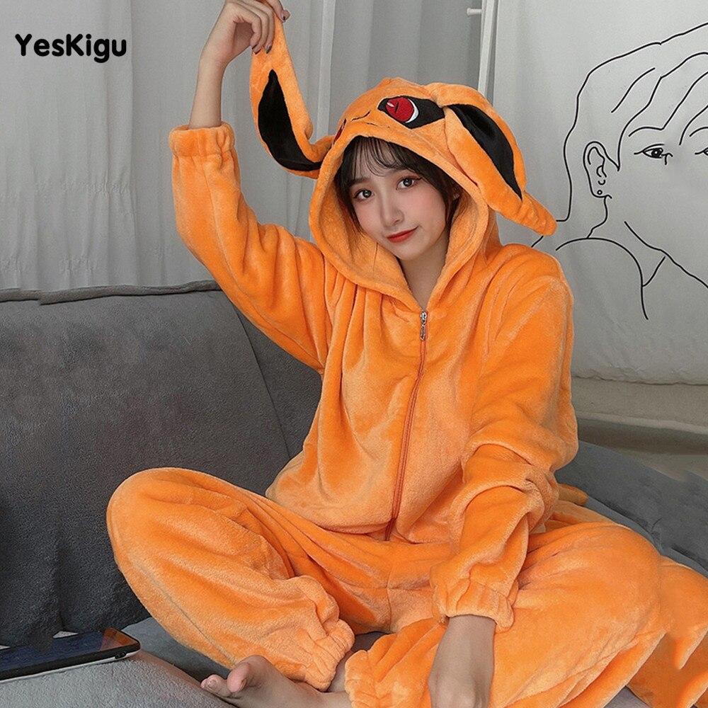 YESKIGU Ninetales Adult Onesie Pajamas Kigurumis Anime Nine-Tailed Fox Animal Women Men Jumpsuit Couples Flannel Pajama Party 2