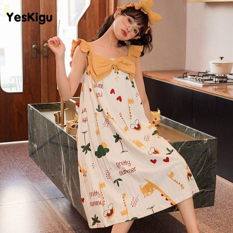Summer Women Nightdress Girls Sleepwear Nuisette femme Cartoon Giraffe Night Dress Women Lovely SweetLeisureWear Night dress 5