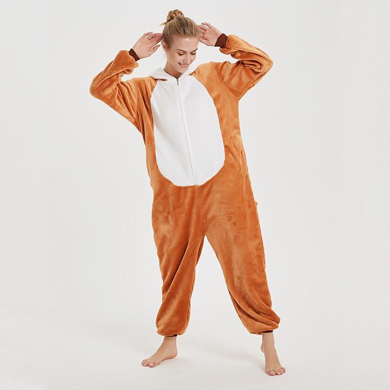 Animal Women Pajamas Suit Kigurumis Fox One Piece Adult Flannel Soft Sleepwear Homewear Festival Party Costume 5