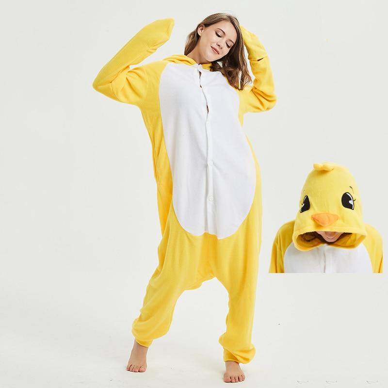 Yellow chick Animal Women Pajama Suit Sleepwear Homewear Adult Onesie Funny Polar Fleece Winter Pijamas Party Costume Plus Size 1
