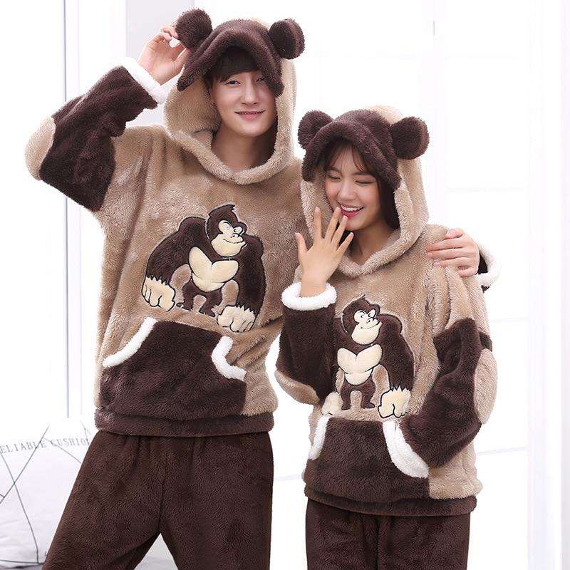Couples Pajamas Set Hoodie Winter Flannel Pyjamas Women Men Thicken Sleepwear Animal Orangutan Warm Pijama Homewear Festival 1