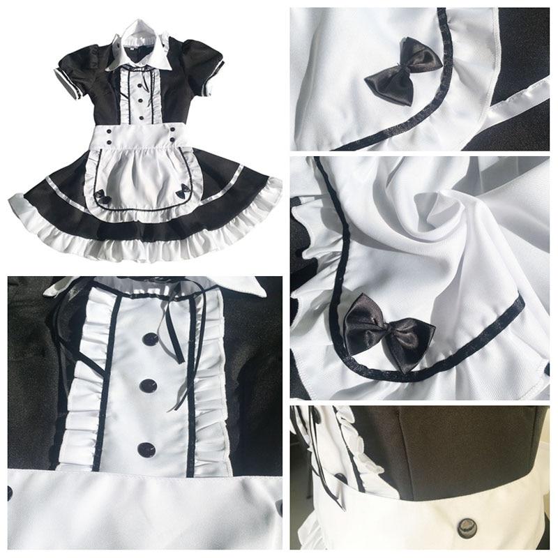 Maid Costume Japanese Anime Cosplay Sweet Classic Lolita Fancy Apron Maid Dress with Socks Gloves Set 2