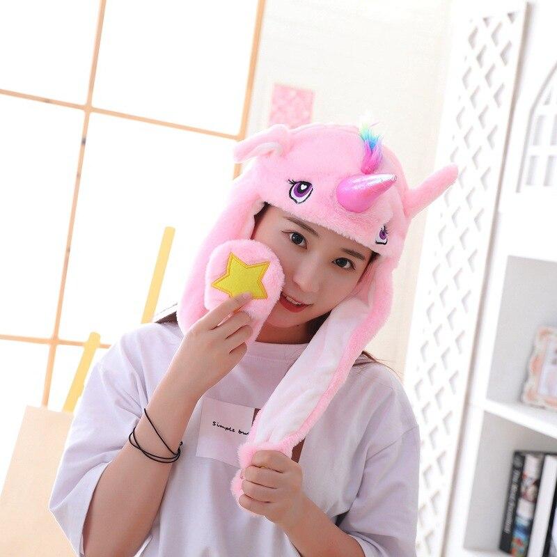 Unicorn Hat Ears Waggle Cute Funny Headgear Women Men Winter Warm Headwear Animal Cosplay Prop 3