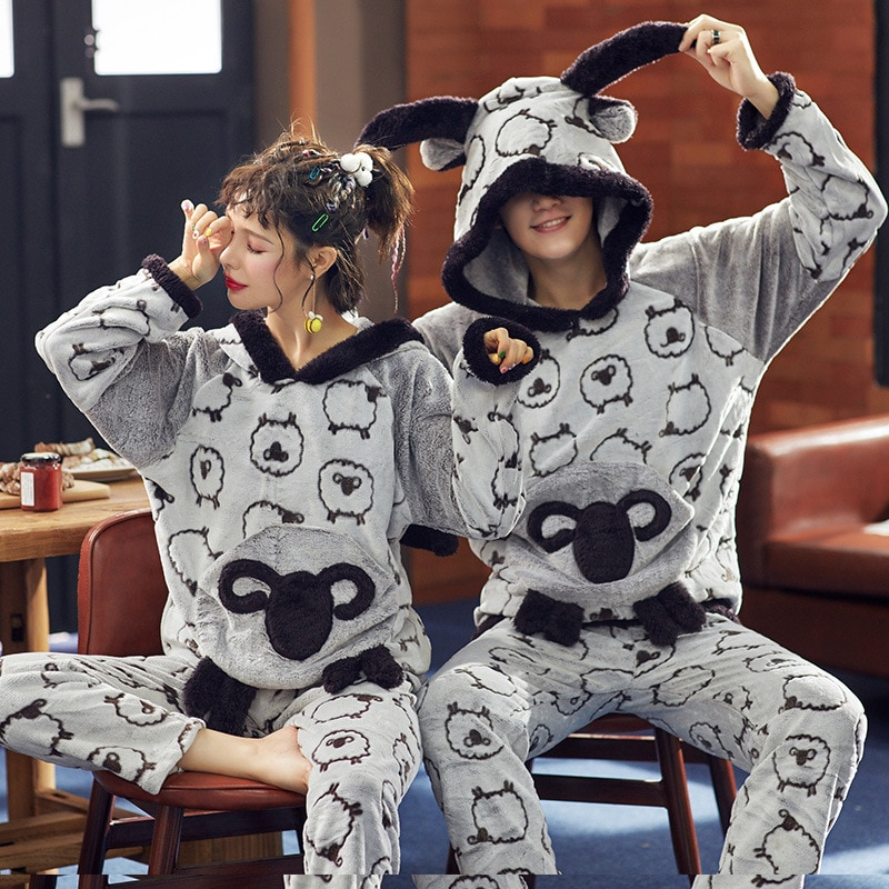 Cartoon Couple Pajamas Set Hoodie Woolly Flannel Pyjamas Women Men Cute Sheep Animal Sleepwear Pijama Homewear two-piece 1