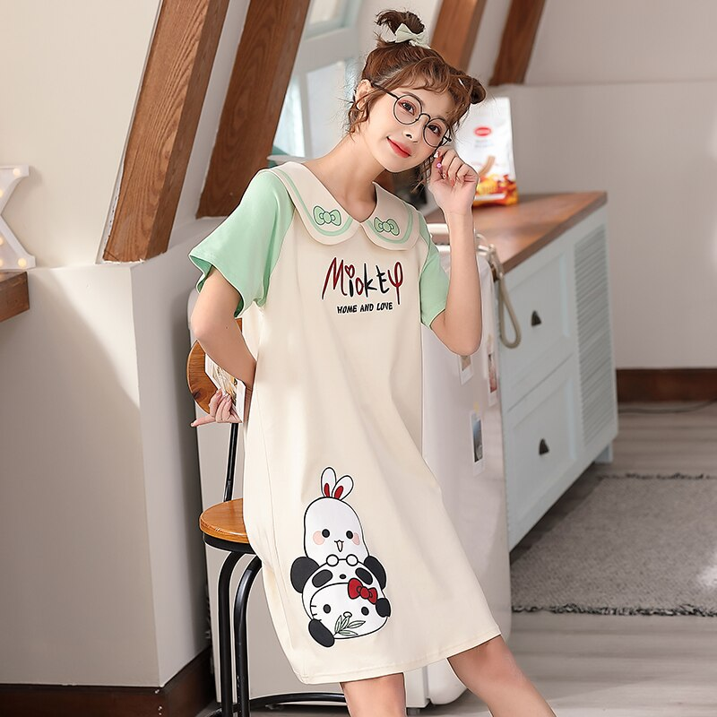 2021 New Women Nightgown Cartoon Panda Pattern Nightdress Sleepwear Girl Pajama Sets Homewear Korean Pijamas Female 4