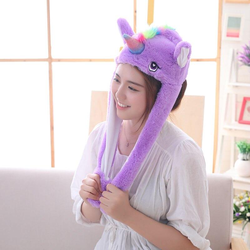 Unicorn Hat Ears Waggle Cute Funny Headgear Women Men Winter Warm Headwear Animal Cosplay Prop 4