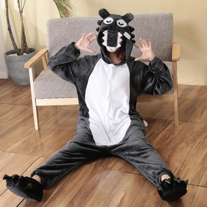 Animal Kigurumis Onesies For Adults Women Flannel Sleepwear Homewear Wolf Cartoon Overalls Witner Nightie Jumpsuit 1