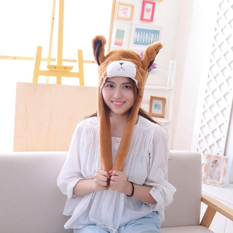 Brown Dog Hat Ears Waggle Cute Funny Headgear Women Men Winter Warm Headwear Animal Cosplay Prop 1