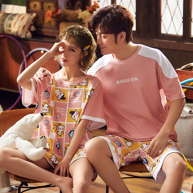 Korean Couple Pajamas Set Cartoon Cute Sleepwear Short Sleeve 2PCS Homewear Pyjamas Women Men Lovers Pajamas Nightgowns XXXL 1