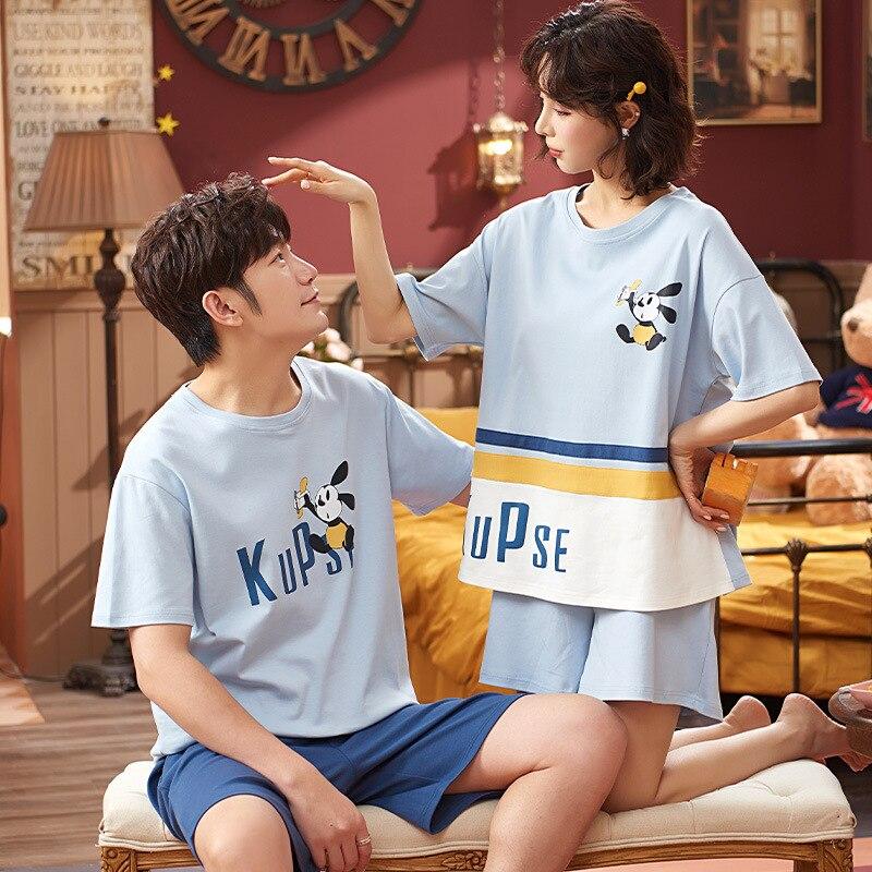 Cartoon Women Couples Pajamas Set Men Summer Pyjamas Short Sleeve Sleepwear Homewear Pijama Femme Nightgowns Nightwear XXXL 3