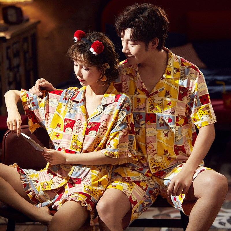 Couple Pijamas Mujer Korean  Cute Squirrel Short Sleeve Pyjamas Women Sleepwear Men Nightwear Lovers Pajamas Homewear XXXL 5