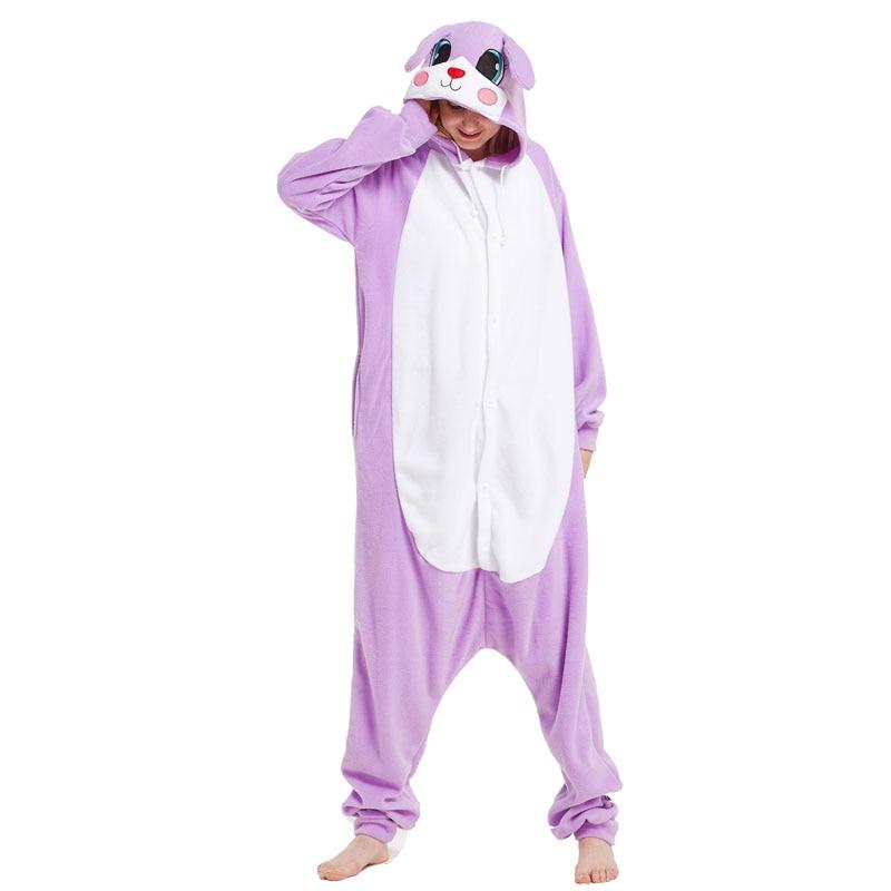 Rabbits kigurumis Women Onesie Pajama Adult Purple Bunny Polar Fleece Sleepwear Carnival Holiday Outfit Winter Homewear Costume 1