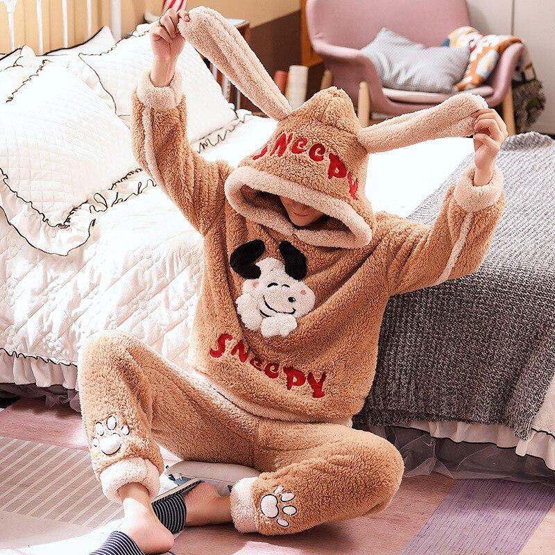 Couple Pajamas Set Winter Thicken Pijamas suit Cartoon Sheep Hooded Home wear Cute Pijama Two Piece Suit Pijamas Lovers Pyjama 4