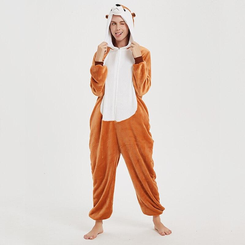 Animal Women Pajamas Suit Kigurumis Fox One Piece Adult Flannel Soft Sleepwear Homewear Festival Party Costume 1