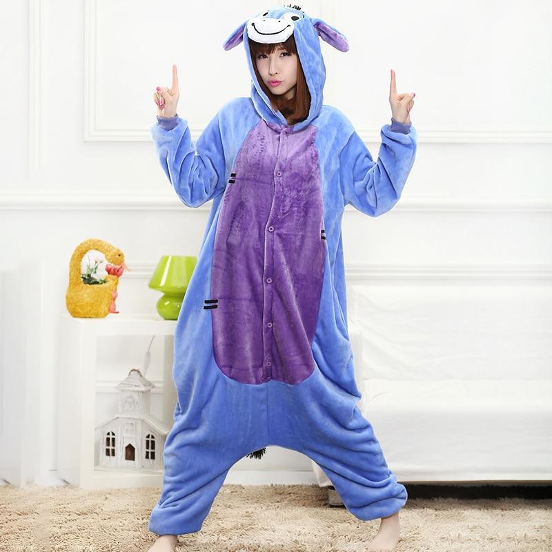 Cartoon Women Pajamas Onesie Animal Donkey Kigurumis Sleepwear Funny Cute Home Jumpsuit Winter Pyjamas Warm Clothes  Overall 1