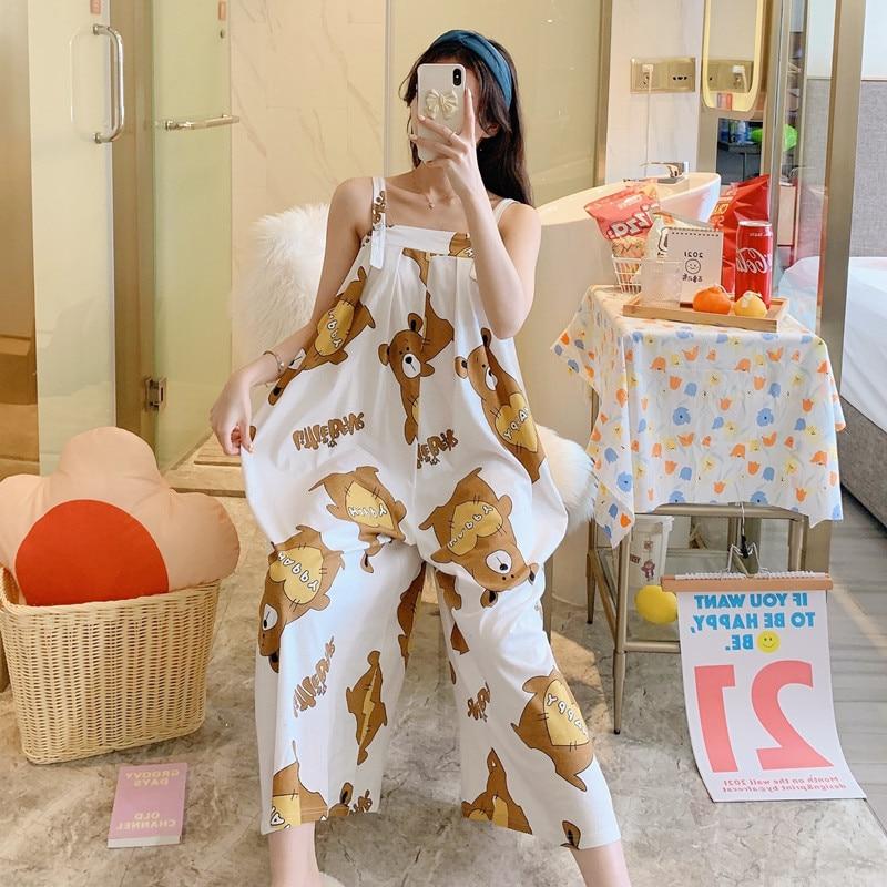 Summer Pajama Women jumpsuits One-piece Pyjamas Sleepwear Cartoon Cute Bear Printing Pajamas Girl CasualWear Home Korean Night 1