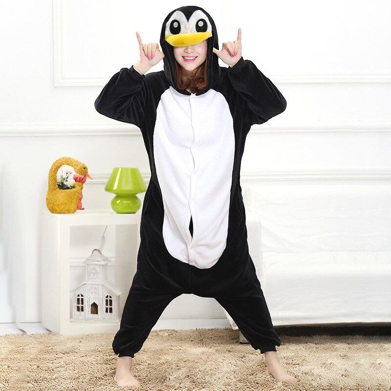 Winter Pajama Penguin Kigurumis Onesie Animal Black Funny Jumpsuit Women Girls Sleepwear Home Overalls Carnival Adult Outfit 2