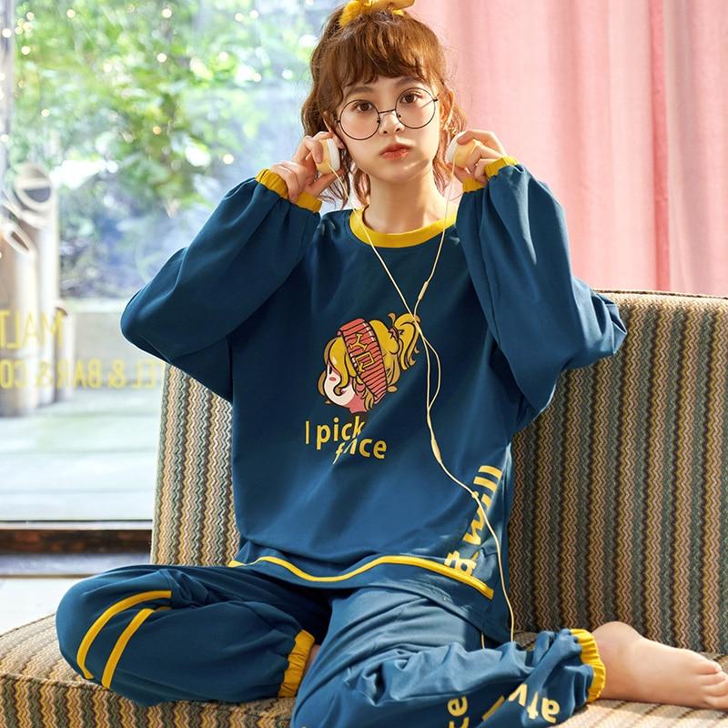 Spring Couple Pajamas Set Cartoon Print Cute Sleepwear Long Sleeve Homewear Pyjamas Women Men Lovers Pajamas Nightgowns XXXL 4