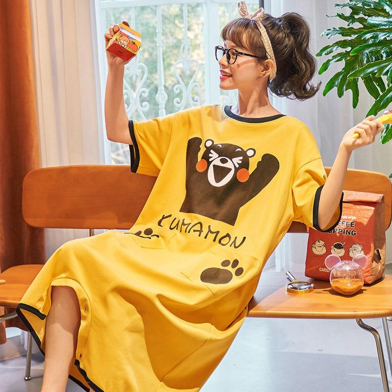 Summer Couple Pajamas Sleepwear Jumpsuit Cotton Cartoon Kumamoto Loose Pyjamas Women Men Cute Homewear Lovers Nightgowns Pajama 2