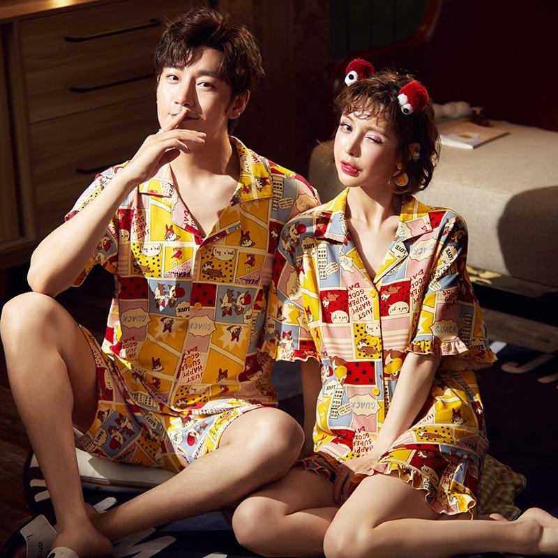 Couple Pijamas Mujer Korean  Cute Squirrel Short Sleeve Pyjamas Women Sleepwear Men Nightwear Lovers Pajamas Homewear XXXL 1