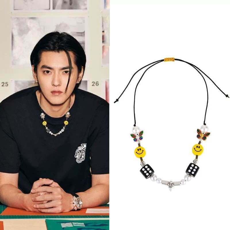 Kpop Fashion Rope Necklace for Men Dice Skull Pearl Yellow Smiley Face Multicolor Butterfly Necklace Hip Hop Bracelet 2020 New 1