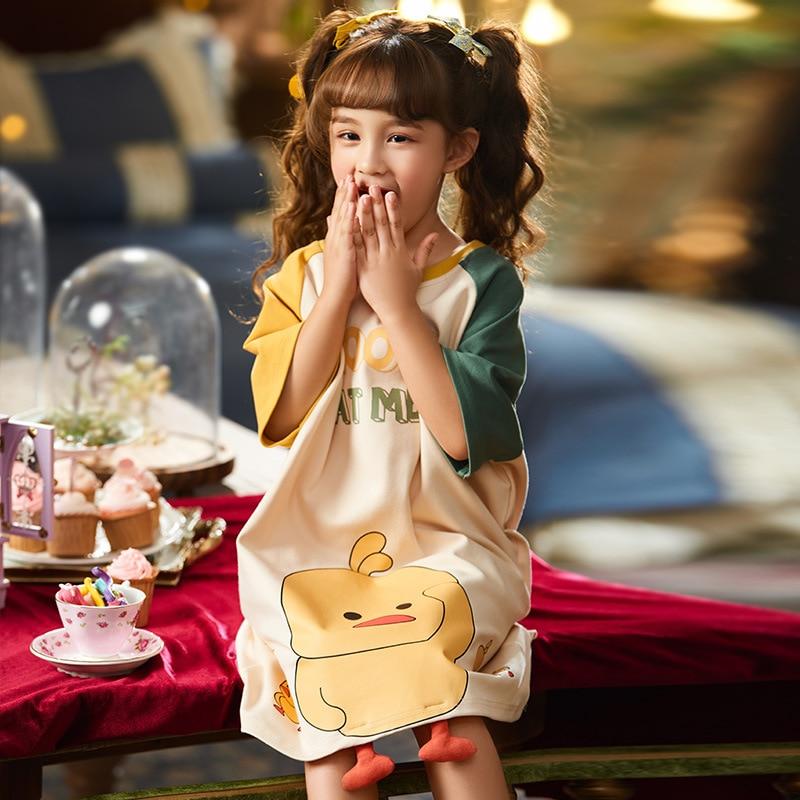 Summer Children Nightdress Sleepwear Dress Cartoon Cute Chick Printing Girls Nightgown Dressing Gown Child Loose Soft Leisure 3