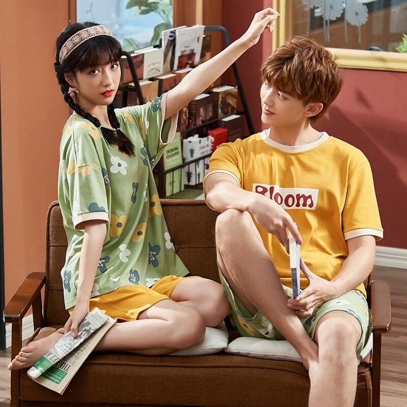 Summer Couples Pajamas Sleepwear Women Men Cotton Pyjamas Flower Printing Homewear Lovers Nightgowns Shorts Korean Pajama Sets 3