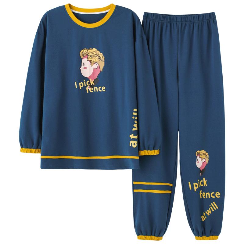 Spring Couple Pajamas Set Cartoon Print Cute Sleepwear Long Sleeve Homewear Pyjamas Women Men Lovers Pajamas Nightgowns XXXL 5