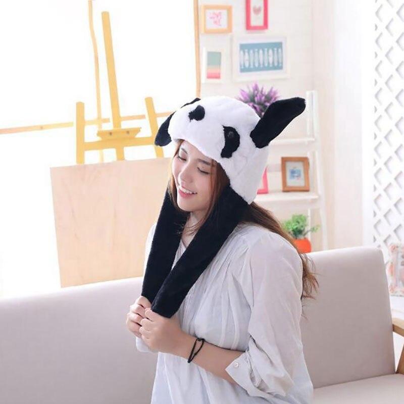 Panda Hat Ears Waggle Cute Funny Headgear Women Men Winter Warm Headwear Animal Cosplay Prop 4