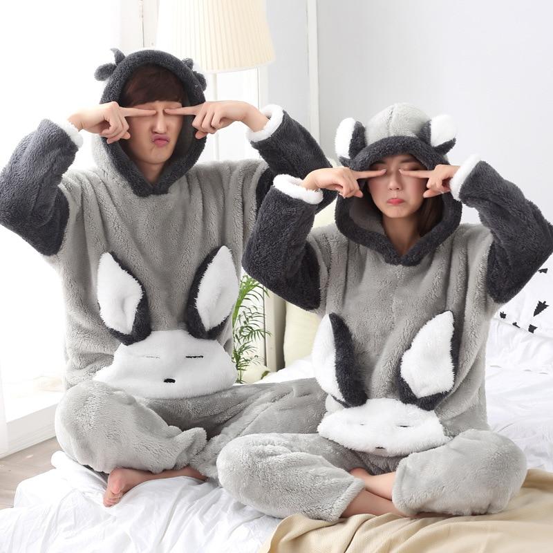 Couples Pajamas Women Men Cartoon Panda Bear Bunny Pyjama Set Winter Thicken CoralFleece Sleepwear warm Homewear Hooded Pijama 1