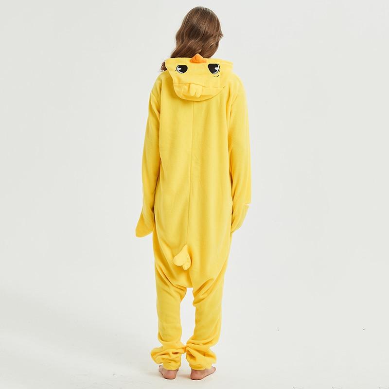 Yellow chick Animal Women Pajama Suit Sleepwear Homewear Adult Onesie Funny Polar Fleece Winter Pijamas Party Costume Plus Size 3
