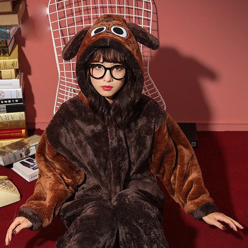 Couples Pajamas  Jumpsuits Winter Thicken Pyjamas Women Men Cartoon Dog  Sleepwear Homewear SoftWarm Pijamas Onesie Plus Size 5