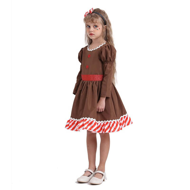 New Christmas 2020 Children Clothes Dress Gingerbread man Cosplay Kids Girls Festival Party Dresses One Piece Newyear Costume 4