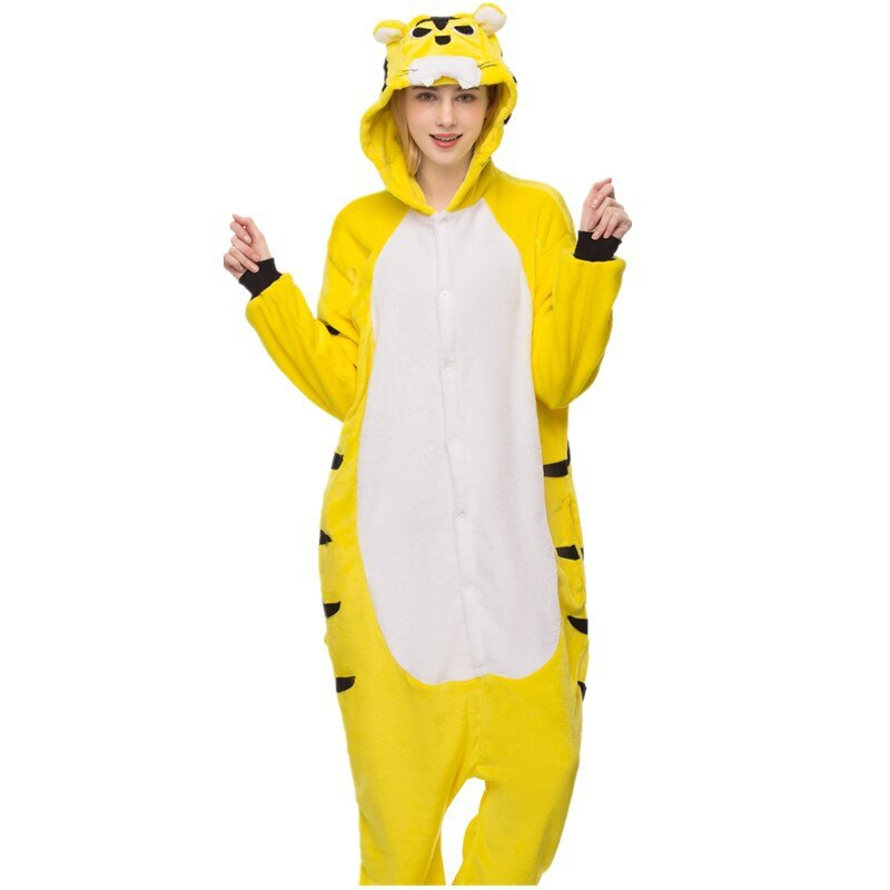 Kigurumis Onesies Sleepwear for Adult Cartoon Funny Tiger Pajama Suit Women Onesie Button Winter Homewear Jumpsuit Onepiece 2