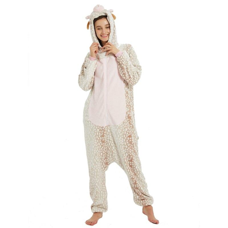 Milu Deer Animal Kigurumis Women Pajama Suit One Piece Adult Flannel Soft Pajamas Sleepwear Homewear Festival Party Costume 2
