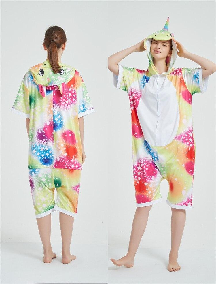 Rainbow Unicorn Kigurumis Women Onesie Cosplay Short Sleeve Animal Jumpsuits Pegasus Girl Pajama Funny Cute HomeWear Costume 7