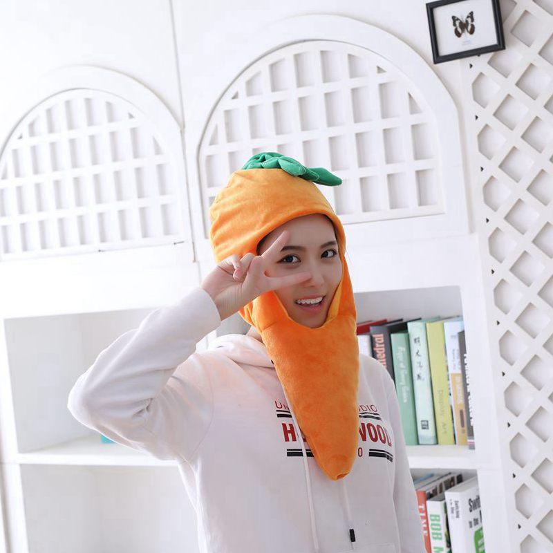 Cartoon Carrot Pineapple Hat Cosplay Funny Hats Kawaii Headgear Headwear Women Men Adult Halloween Festival Party Warm Caps 5