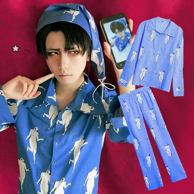 Anime Attack on Titan Levi Pajamas Sleepwear Shingeki No Kyojin Cosplay Costume Adult Pyjamas Pijamas Shirt Pants With Hat 1
