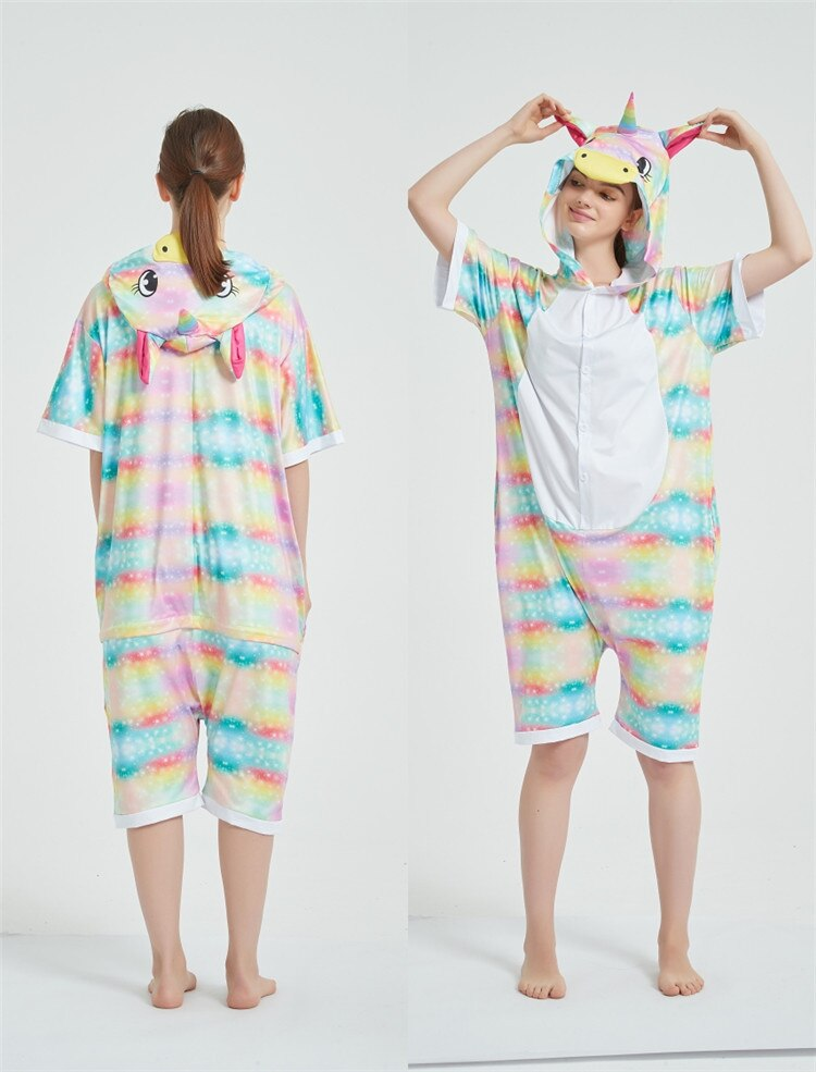 Rainbow Unicorn Kigurumis Women Onesie Cosplay Short Sleeve Animal Jumpsuits Pegasus Girl Pajama Funny Cute HomeWear Costume 11