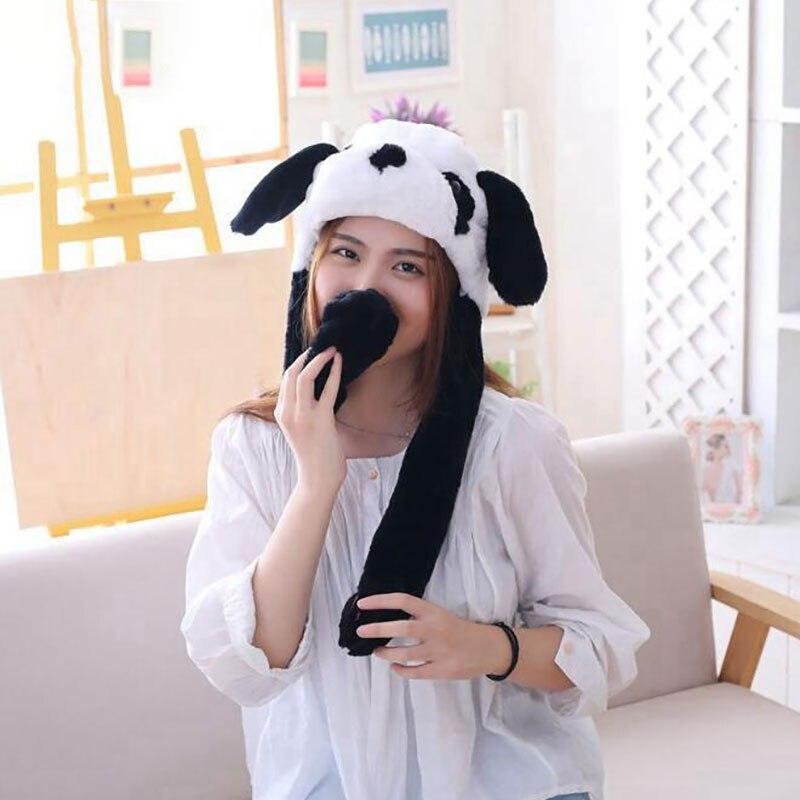 Panda Hat Ears Waggle Cute Funny Headgear Women Men Winter Warm Headwear Animal Cosplay Prop 3