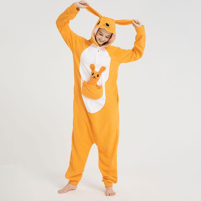Animal women Onesie Pajama Adult Funny Kangaroo Men Wither Night Wear Cartoon Sleepwear Party Jumpsuit Unisex Homewear Costume 1