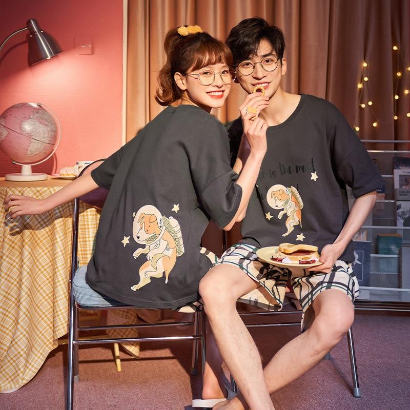 Couples Pajamas Set Women Men Cartoon Dog Printing Pyjamas Sleepwear Summer  LooseKorean Pijama Femme Nightgowns Plus Size 1