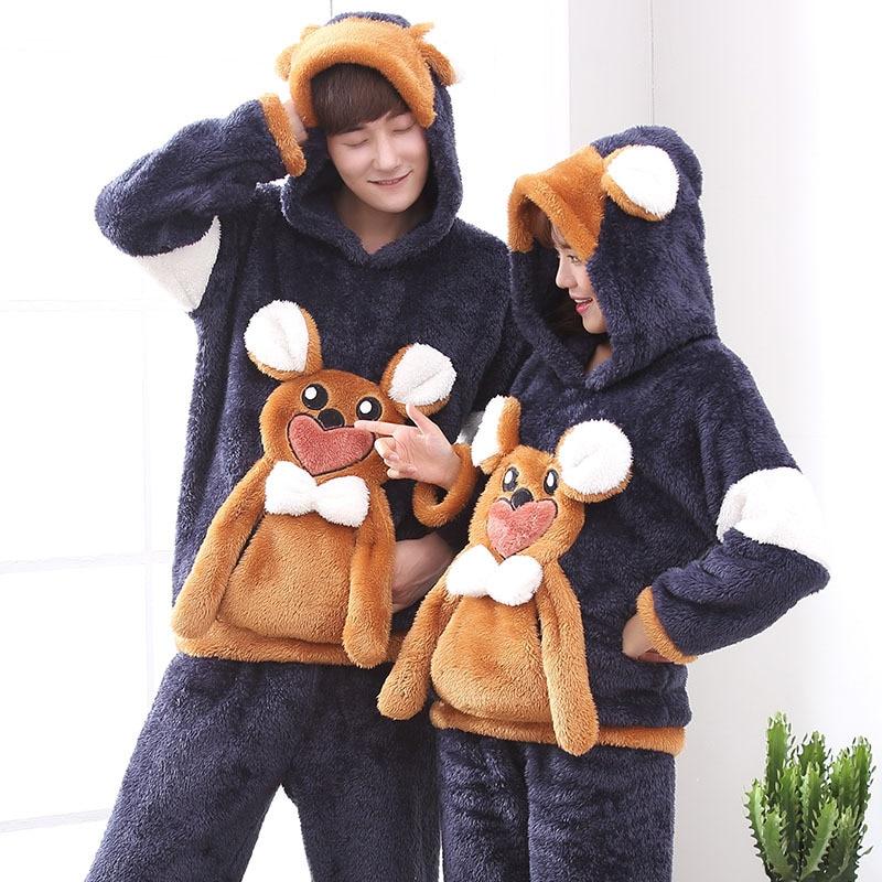 Couples Pajamas Set Hoodie Winter Flannel Pyjamas Women Men Thicken Sleepwear Animal Mouse Warm Festival Pijama Homewear 2PCS 2