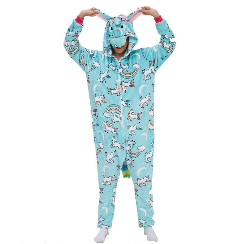 New Arrive Unicorn Women Pajama Kigurumis Blue Pegasus Adult Flannel Onepiece Sleepwear Party Cosplay Homewear Costume Apparel 1