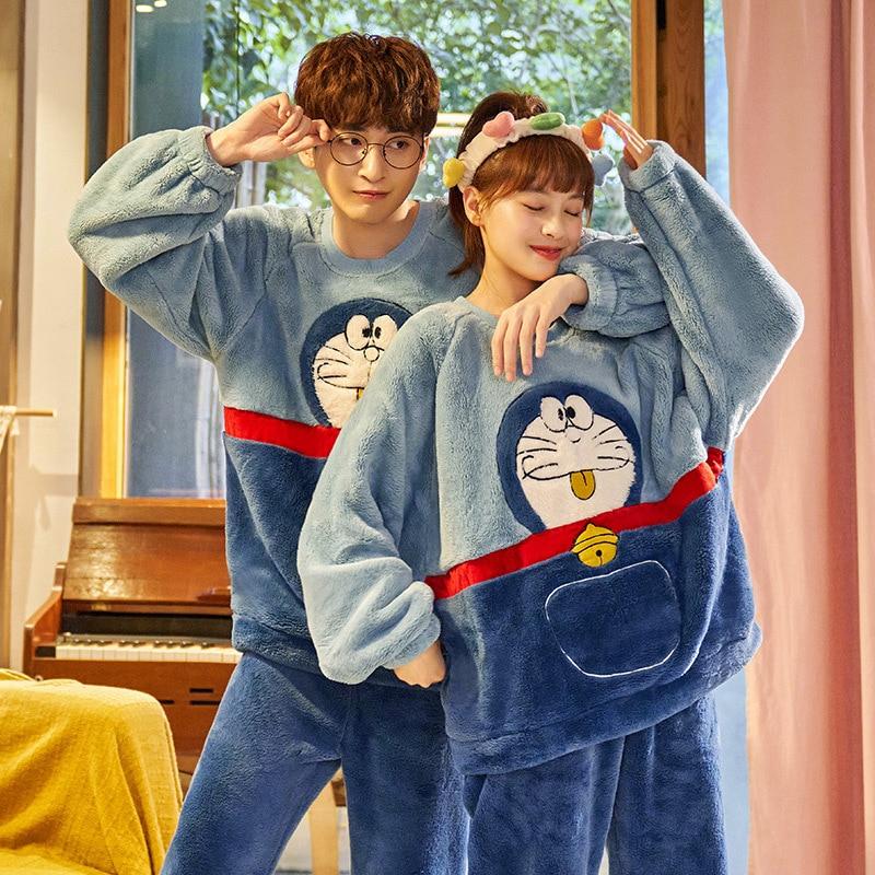 Couples pyjamas Set Cartoon Doraemon Cat Winter Thicken pyjamas women Sleepwear Homewear CoralFleece Lover pijamas Plus size 1